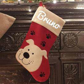 image-Dog Personalsied Christmas Stocking East Urban Home Colour: White