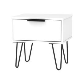 image-Hong Kong White 1 Drawer Bedside Cabinet with Hairpin Legs