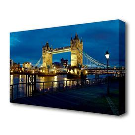 image-'London Tower Bridge Nightlight' Photograph on Wrapped Canvas East Urban Home Size: 101.6 cm H x 142.2 cm W