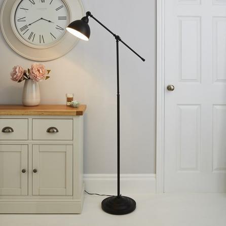 image-Lever Arm Black Floor Lamp Black