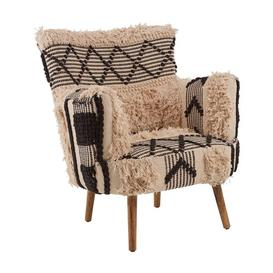 image-Cafenos Cotton Fabric Bedroom Chair In Textured White