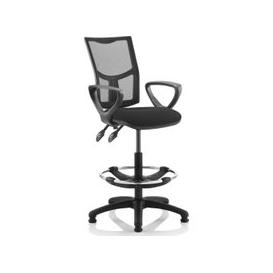 image-Lunar 2 Lever Mesh Back Draughtsman Chair (Fixed Arms), Black