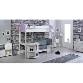 image-Trevino Single High Sleeper Loft Bed with Shelf and Desk Isabelle & Max Colour (Bed Frame): White/Lilac, Colour (Fabric/Accessory): Silver