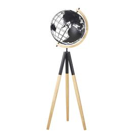 image-World map tripod globe in rubberwood and black recycled iron