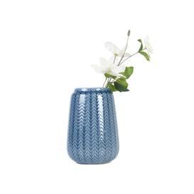 image-Blue Herringbone Effect Vase