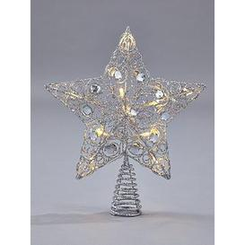 image-Silver Star Light-Up Christmas Tree Topper