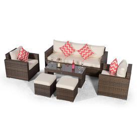 image-Villatoro Brown Rattan 3 Seat Sofa + 2 X Armchairs & 2 Stool Coffee Table, Outdoor Patio Garden Furniture Dakota Fields