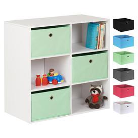 image-Hartleys White 6 Cube Kids Storage Unit & 3 Easy Grasp Box Drawers - Mint