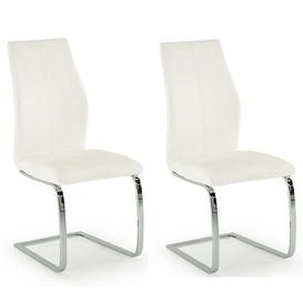 image-Vida Living Elis White Faux Leather Dining Chair Pair