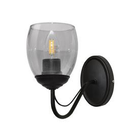 image-Annie 1-Light Candle Wall Light Marlow Home Co. Fixture Finish: Black, Shade Colour: Smoke Transparent