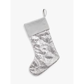 image-John Lewis & Partners Sequinned Christmas Stocking, Silver