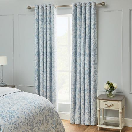 image-Dorma Remington Blue Blackout Eyelet Curtains Blue