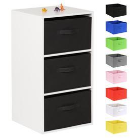 image-Hartleys White 3 Cube Kids Storage Unit & 3 Handled Box Drawers - Black