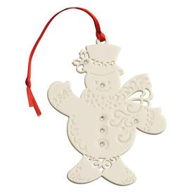 image-Christmas Snowman with Gems Hanging Figurine Belleek Home