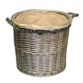 image-Medium Round Log Wicker Basket Beachcrest Home