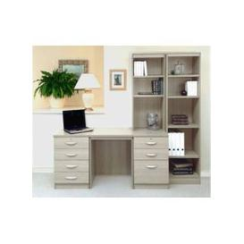 image-Small Office Desk Set With 4+3 Drawers & Bookcases (Grey Nebraska)