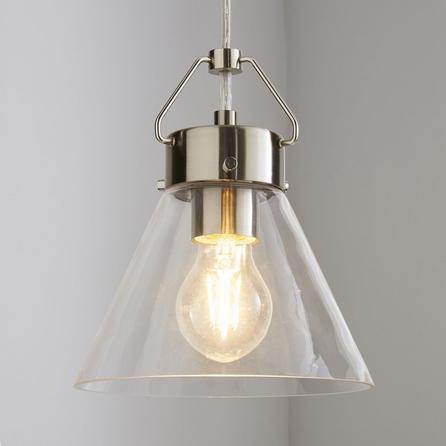 image-Delavin 1 Light Pendant Glass Ceiling Fitting Silver