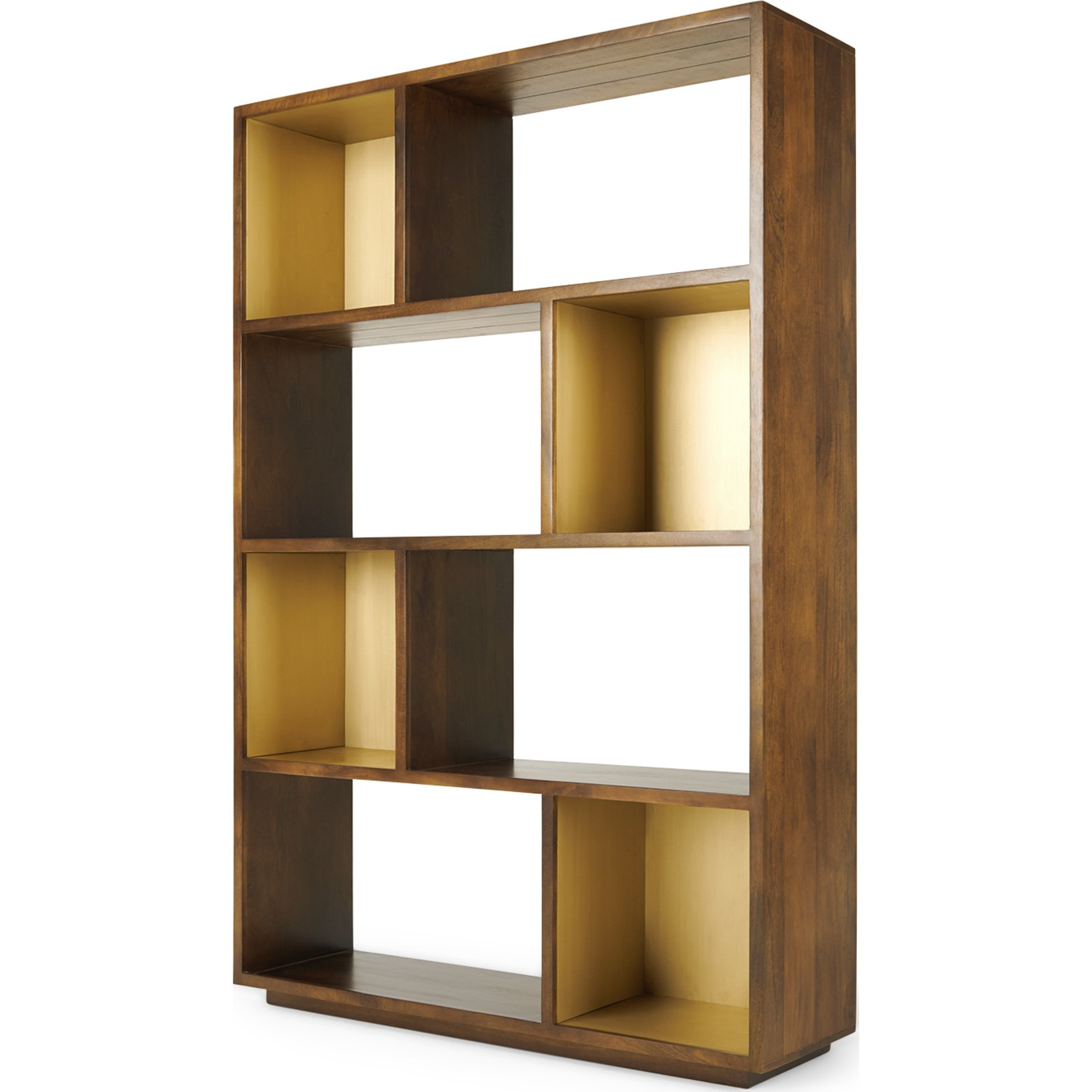 image-Anderson Wide Shelving Unit, Mango Wood and Brass