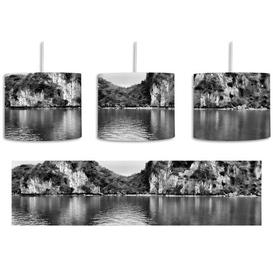image-Mountain Landscape 1-Light Drum Pendant East Urban Home Shade Colour: Black/White