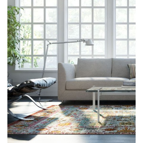 image-Aqua Silk Traditional Patterned Multi Rug 275cm x 366cm