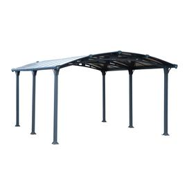 image-Curved Roof Garden Gazebo in Grey - 5M - Tuscan
