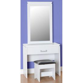 image-Charles 1 Drawer Dressing Table Set in White/Black PU