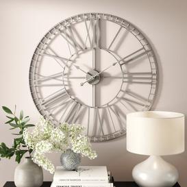 image-Lemons Oversized 80cm Large Nickel Wall Clock Williston Forge