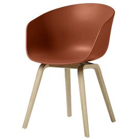 image-About a chair AAC22 Armchair - Plastic & wood legs by Hay Orange/Natural wood