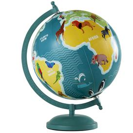 image-Blue and Multicoloured and Metal Animals World Map Globe