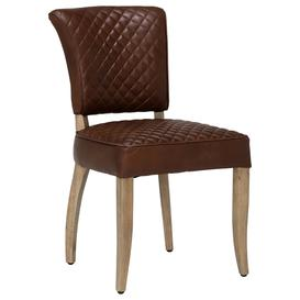image-Timothy Oulton Mimi Quilted Leather Dining Chair, Antique Whisky