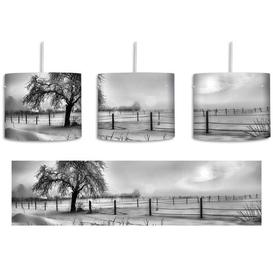 image-Tree on a Winter Landscape 1-Light Drum Pendant East Urban Home Shade Colour: Black/White