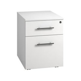 image-Next-Day Illusion Low Mobile 2 Drawer Pedestal White Gloss, Free  Delivery