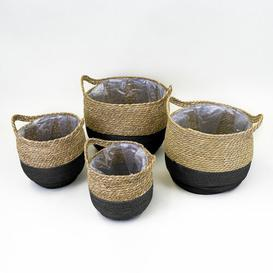 image-Seagrass 4 Piece Basket Set (Set of 3) Breakwater Bay Colour: Natural/Black