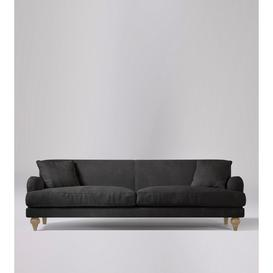 image-Swoon Chorley Three-Seater Sofa in Slate Smart Leather With Short Light Feet