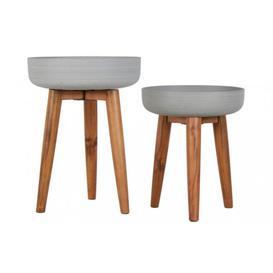 image-Set of 2 Concrete Planters on a Wooden Stand - W.39 X H.51cm / W.36.5 X H.43cm
