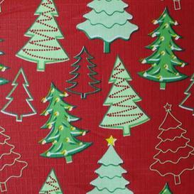 "image-""Christmas PEVA Tablecloth - Red Trees 50 x 90"""""""