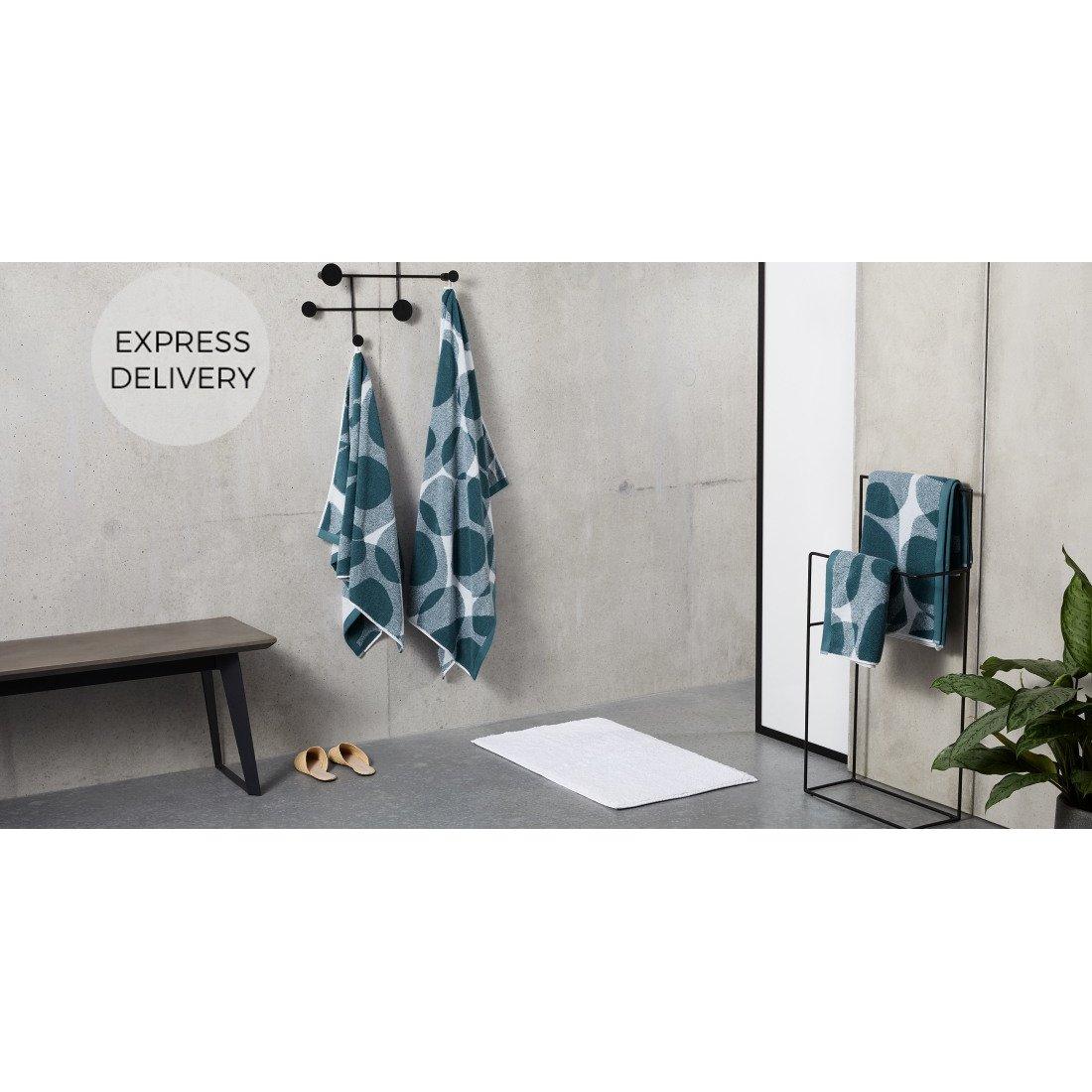 image-Holt 100% Cotton Set of 2 Hand Towels, Aegean Blue