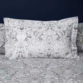 image-Hardwick Floral Grey Oxford Pillowcase Light Grey