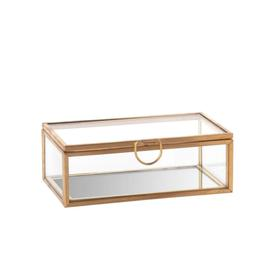 image-Golden Metal and Glass Jewellery Box