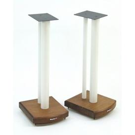 image-60cm Fixed Height Speaker Stand Symple Stuff Finish: White/Dark Bamboo