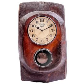 image-Upcycled Old Wooden Pendulum Wall Clock
