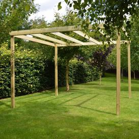 image-Randi Manufactured Wood Pergola Sol 72 Outdoor Finish: Light Green, Size: 270cm H x 240cm W x 240cm D