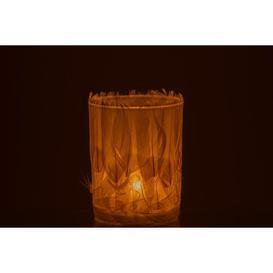 image-Feathers Glass Tealight Ebern Designs Colour: White, Size: 12cm H x 10cm W x 10cm D