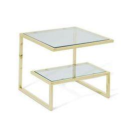 image-Alana Glass Lamp Table Square In Clear With Gold Frame