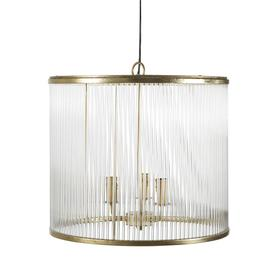 image-Golden Metal and Glass Drum 3-Arm Pendant Light
