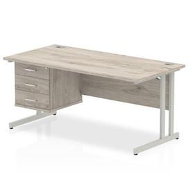 image-Zetta Executive Desk Ebern Designs Size: 73cm H x 140cm W x 80cm D, Frame Colour: Grey