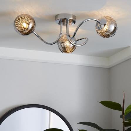 image-Arta 3 Light Semi-Flush Chrome Ceiling Fitting Chrome