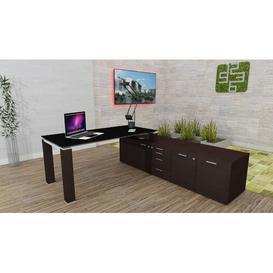 image-Annmarie L-Shape Executive Desk Ebern Designs Colour (Top/Frame): Black/Wenge, Size: 72cm H x 200cm W x 100cm D