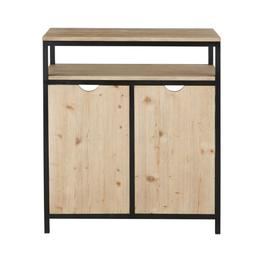 image-2-door bar unit in solid spruce and black metal