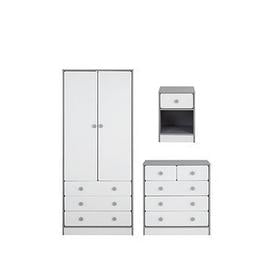 image-Peyton Kids 3 Piece Package - 2 Door, 3 Drawer Wardrobe, 3 + 2 Drawer Chest And 1 Drawer Bedside Chest